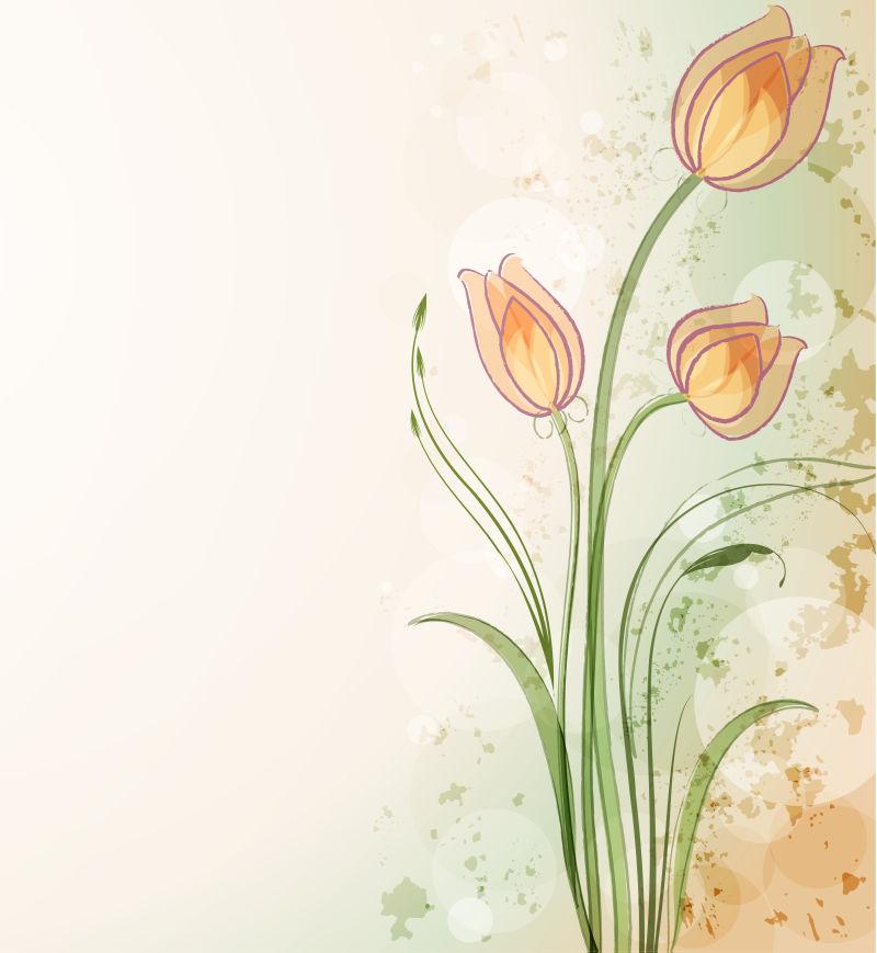 抽象矢量美丽手绘花卉元素背景