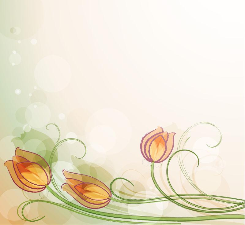 抽象花卉元素的矢量现代背景