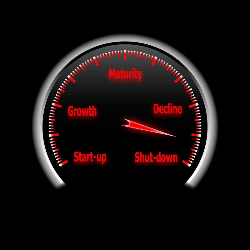 矢量红色汽车仪表盘插图