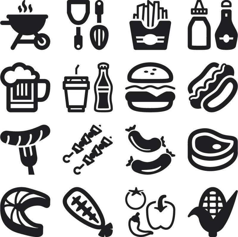 创意矢量烧烤图标设计