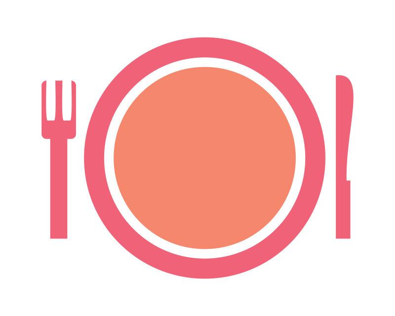 矢量粉色餐具图标