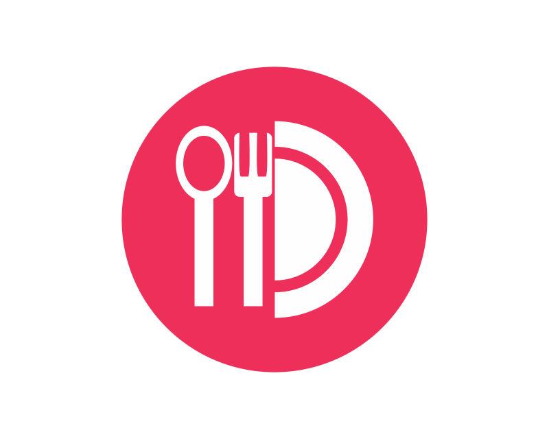 矢量白色餐具图标设计
