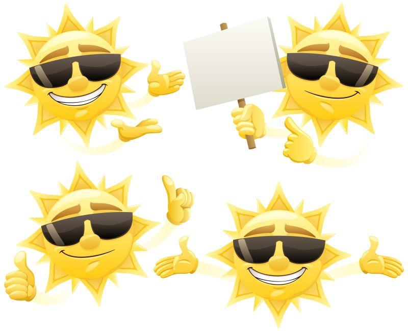 矢量戴着墨镜卡通太阳