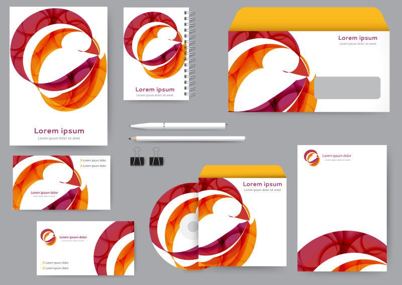 抽象红色飘带元素的矢量宣传单设计