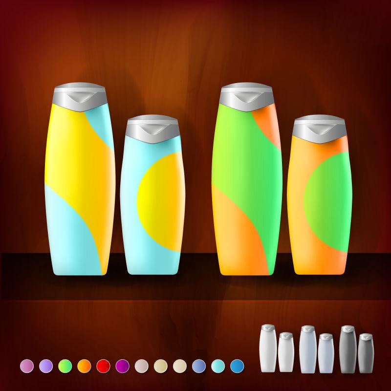 抽象矢量彩色包装瓶创意设计