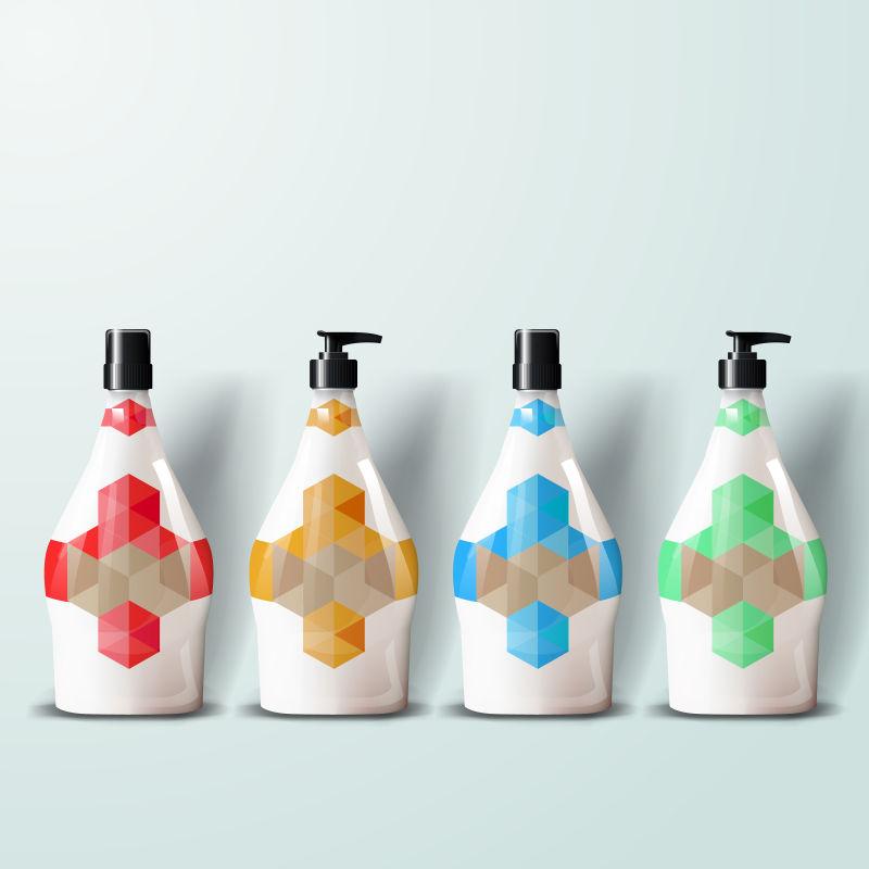 矢量彩色几何风格的包装瓶设计
