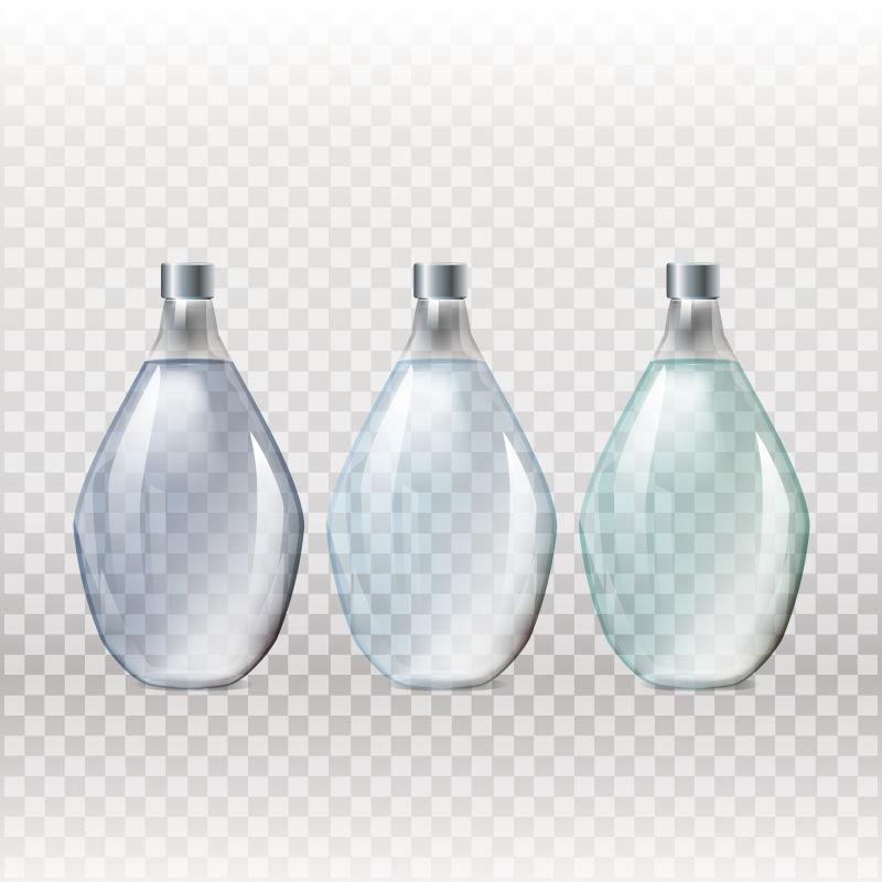 抽象矢量现代透明玻璃瓶设计