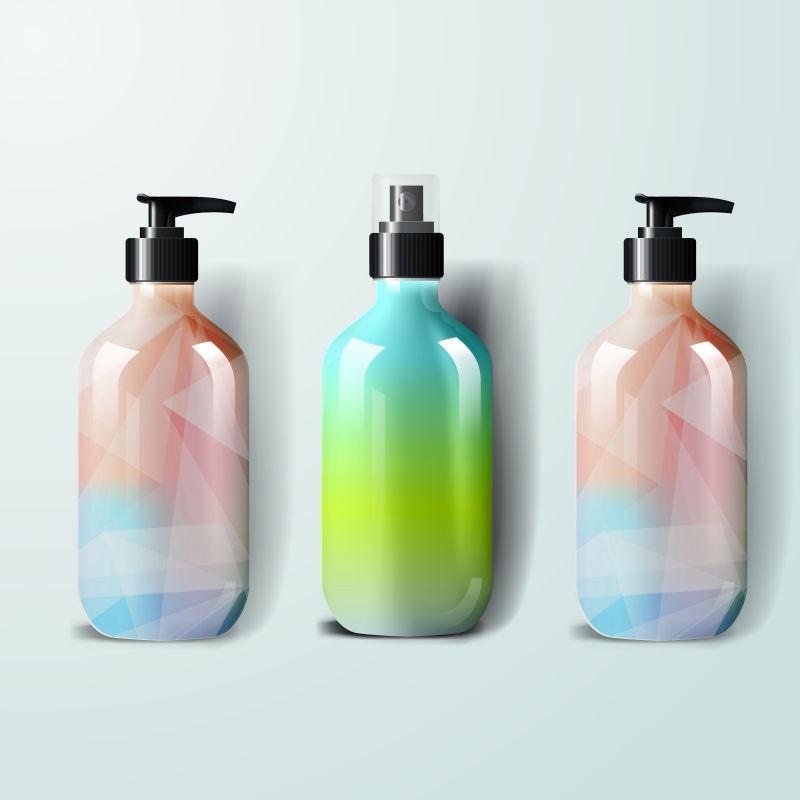 创意矢量彩色风格的包装瓶设计