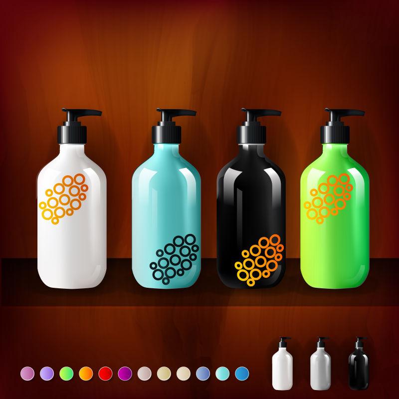 创意矢量彩色包装瓶设计