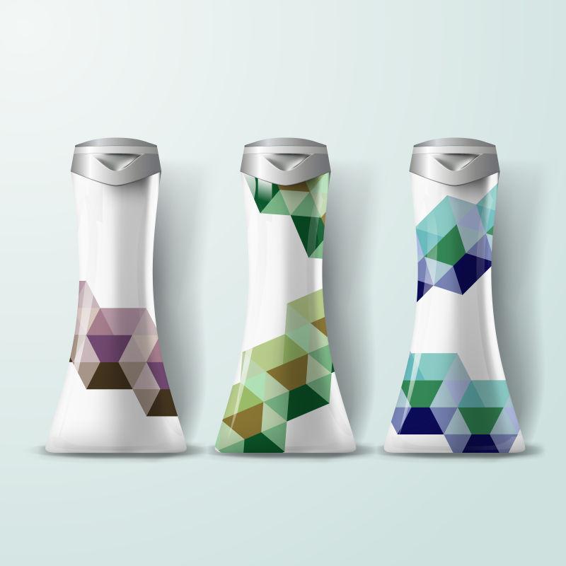 抽象矢量几何风格的瓶子设计