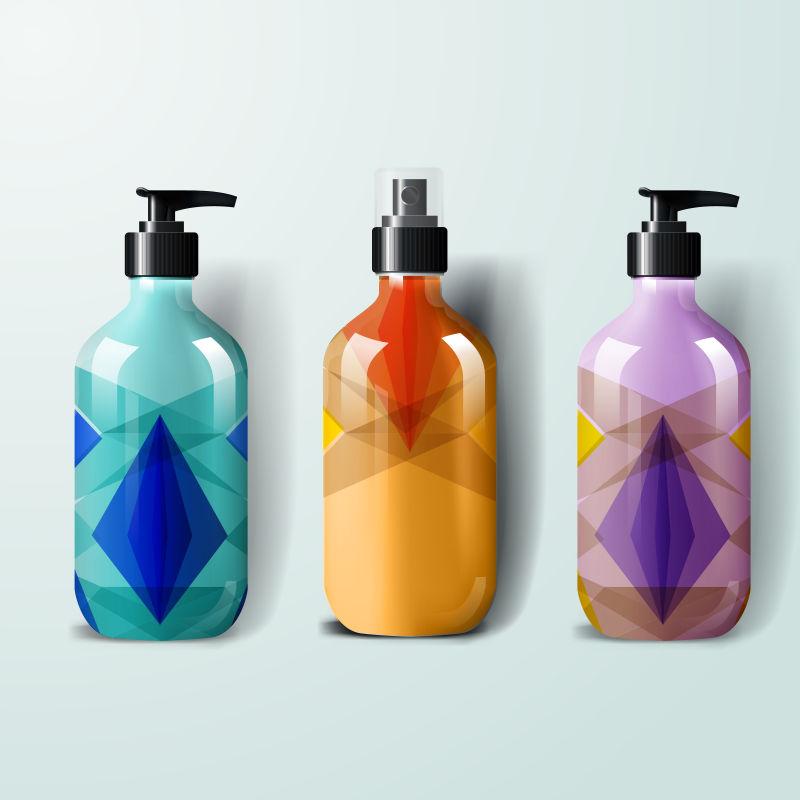 抽象矢量现代几何元素风格的包装瓶设计