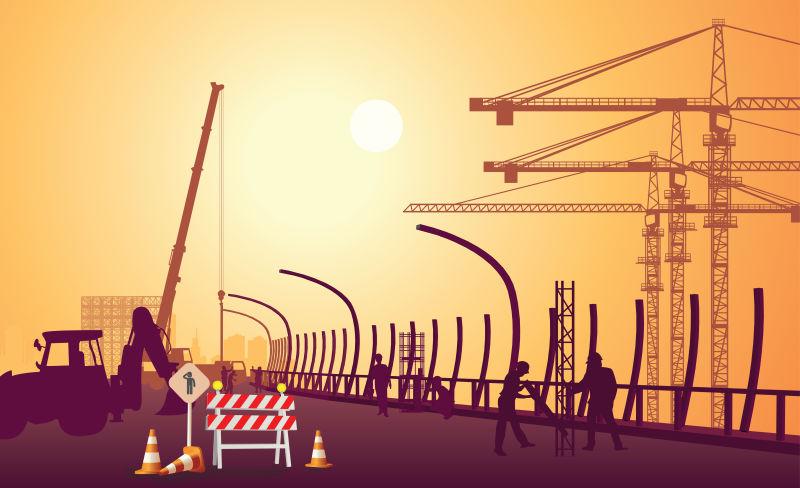 矢量建筑工地的创意平面插图