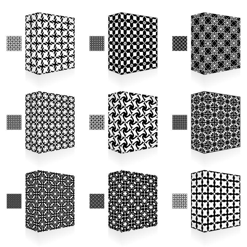 抽象矢量单色装饰花纹的包装盒设计