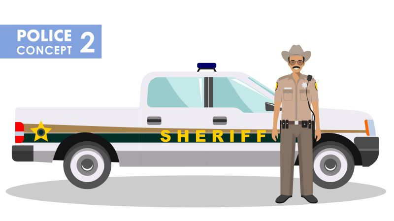 矢量站在警车前的警察