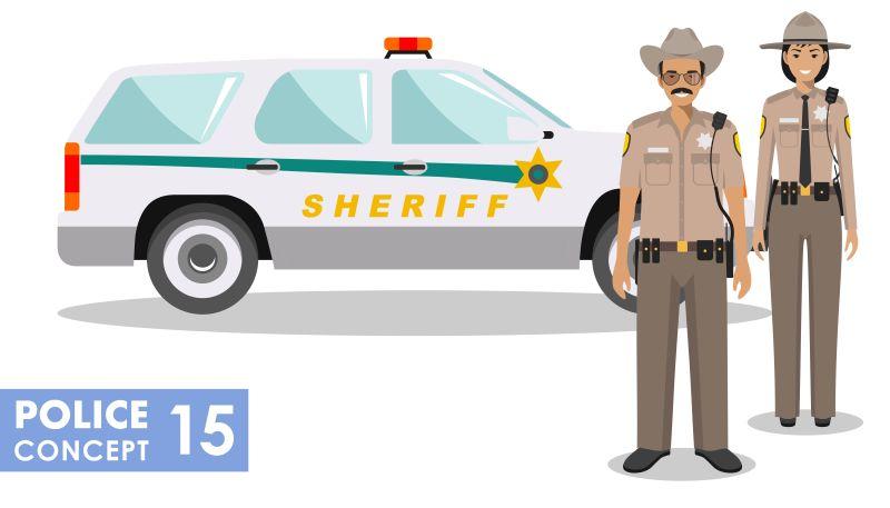 矢量美国警察与警车