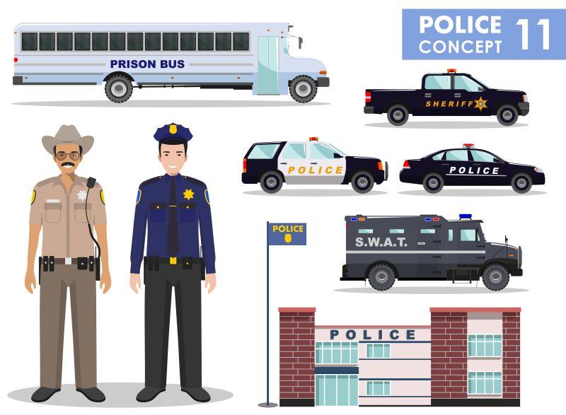 矢量警察与警车