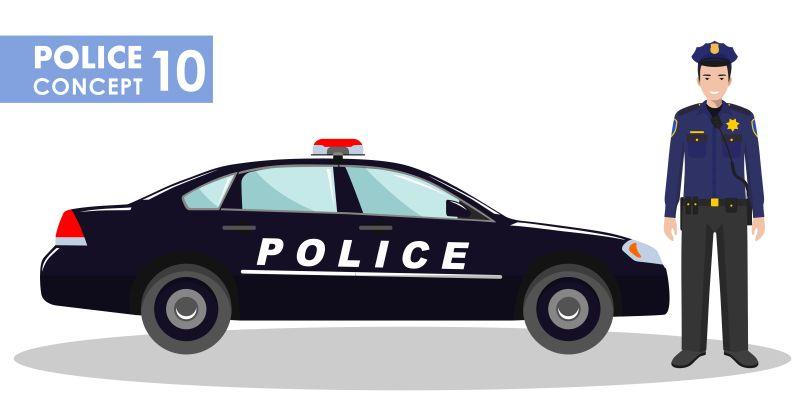 矢量停放警车与警车