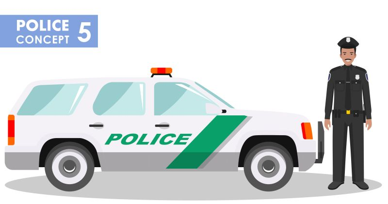 矢量停放的警车与警车