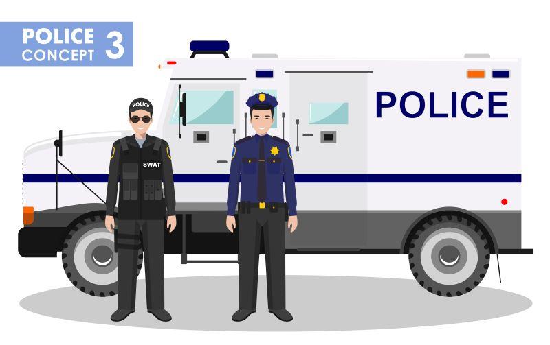 矢量站在警车前的两名警察