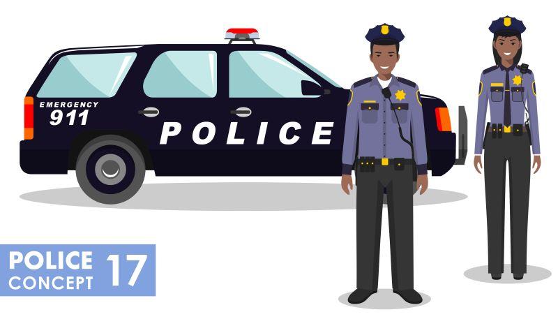矢量站立的警察与警车