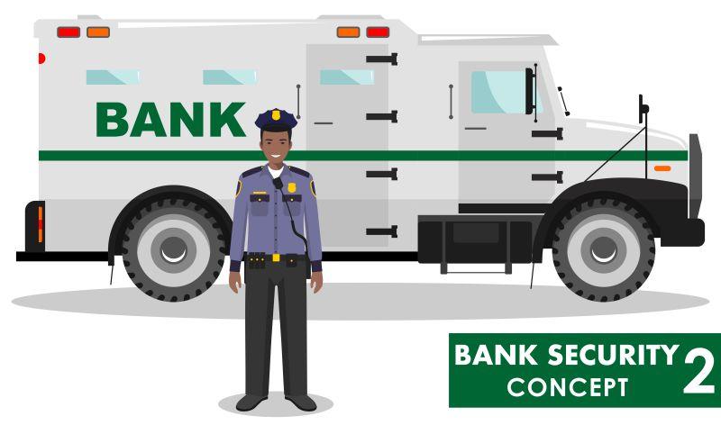 矢量银行保安与警车