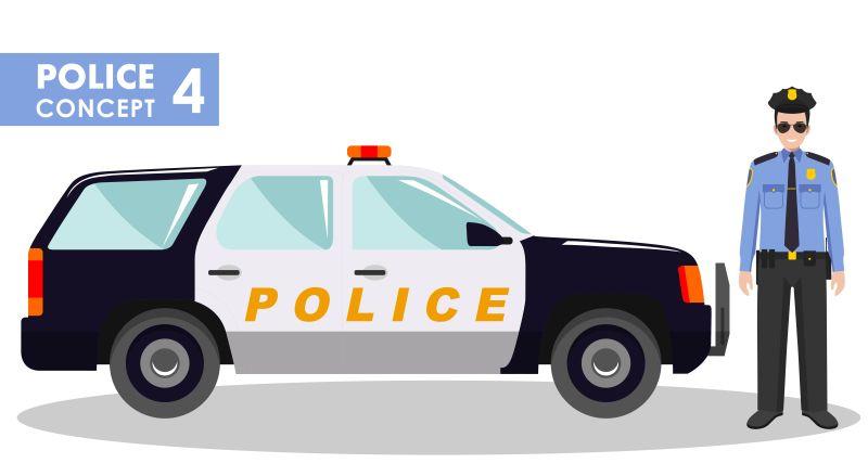 矢量汽车旁戴着墨镜的警察