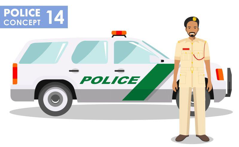 矢量阿拉伯警察与警车