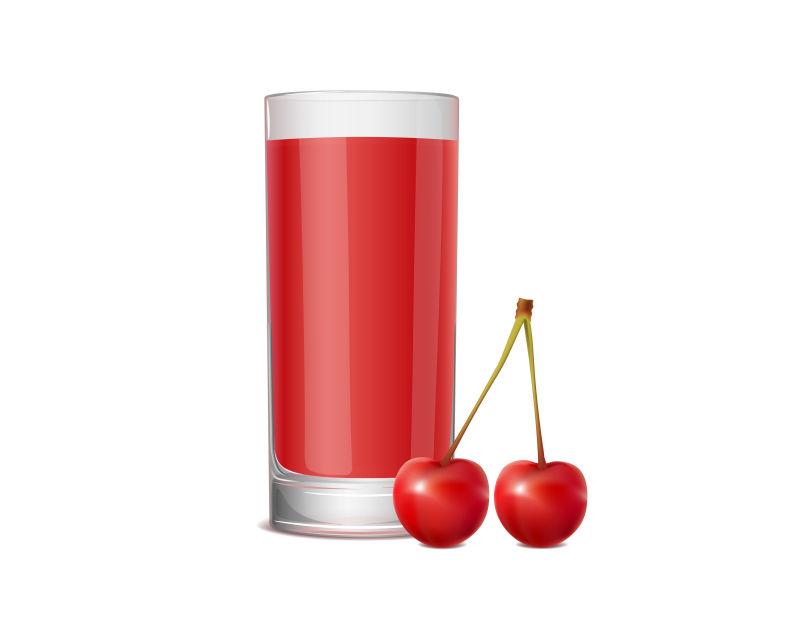 矢量樱桃与樱桃汁