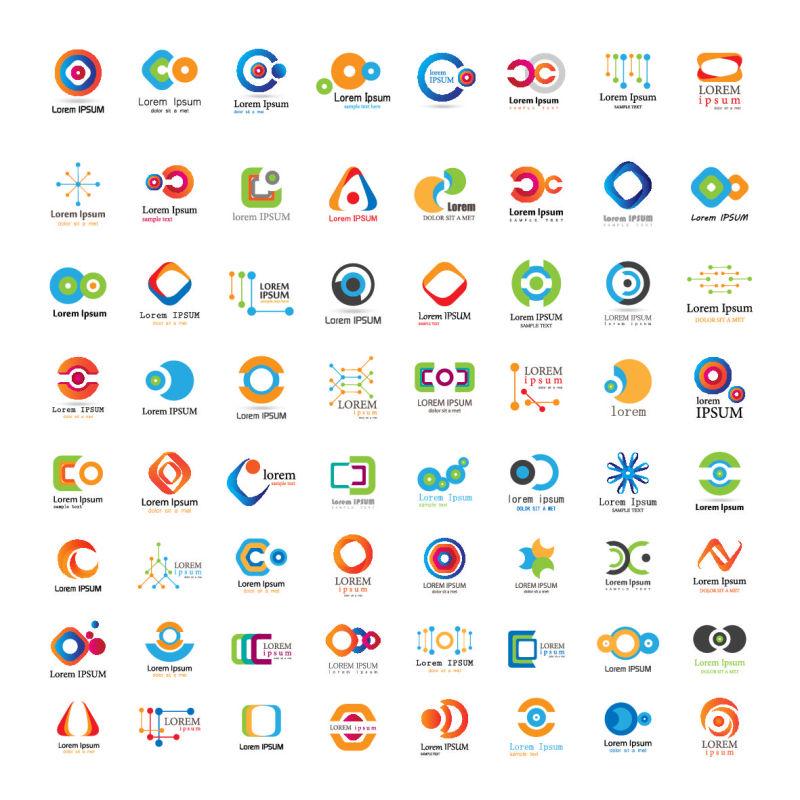 创意的彩色抽象环形标志矢量设计