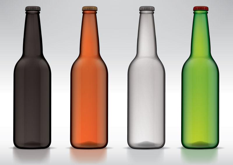 矢量不同颜色的啤酒瓶设计