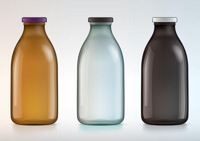 矢量不同颜色的玻璃瓶设计
