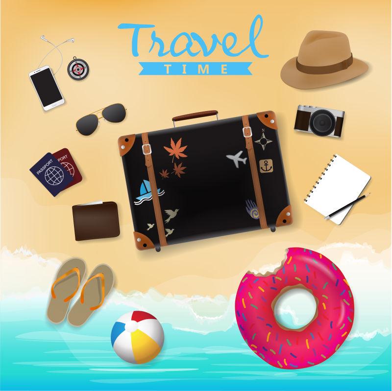 抽象矢量旅行箱元素设计背景