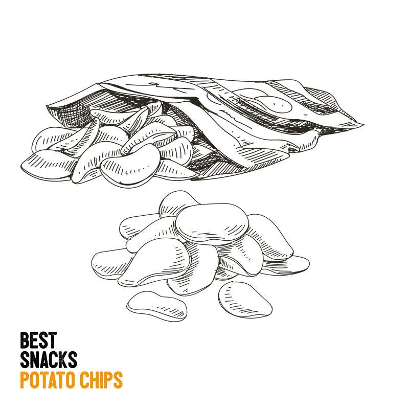 创意矢量现代手绘薯片平面插图