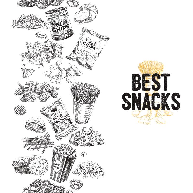 创意矢量手绘垃圾食品的插图设计