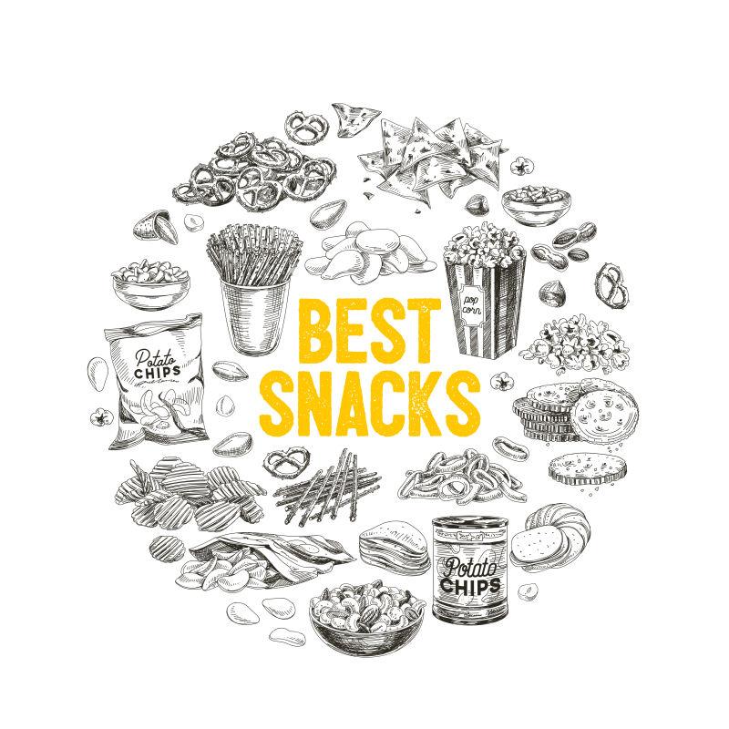 创意矢量手绘食品设计插图