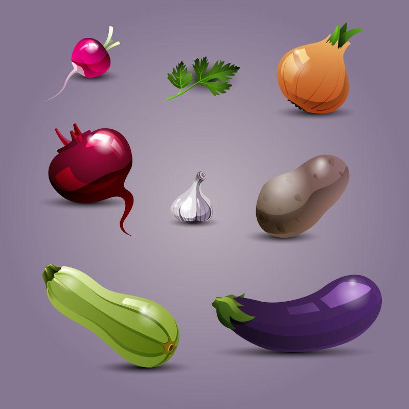 抽象矢量新鲜健康的蔬菜设计