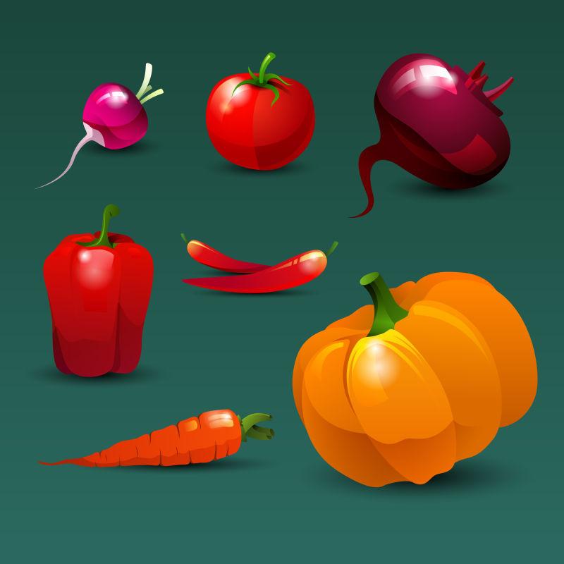 抽象矢量健康蔬菜设计插图