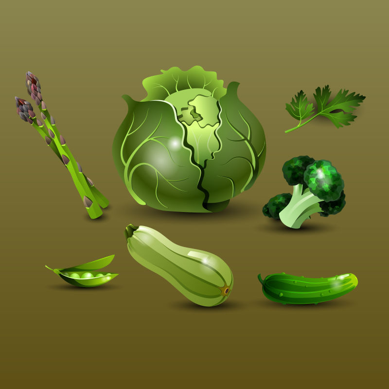 创意矢量现代健康绿色蔬菜插图