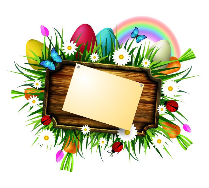 矢量彩色的复活节木牌设计