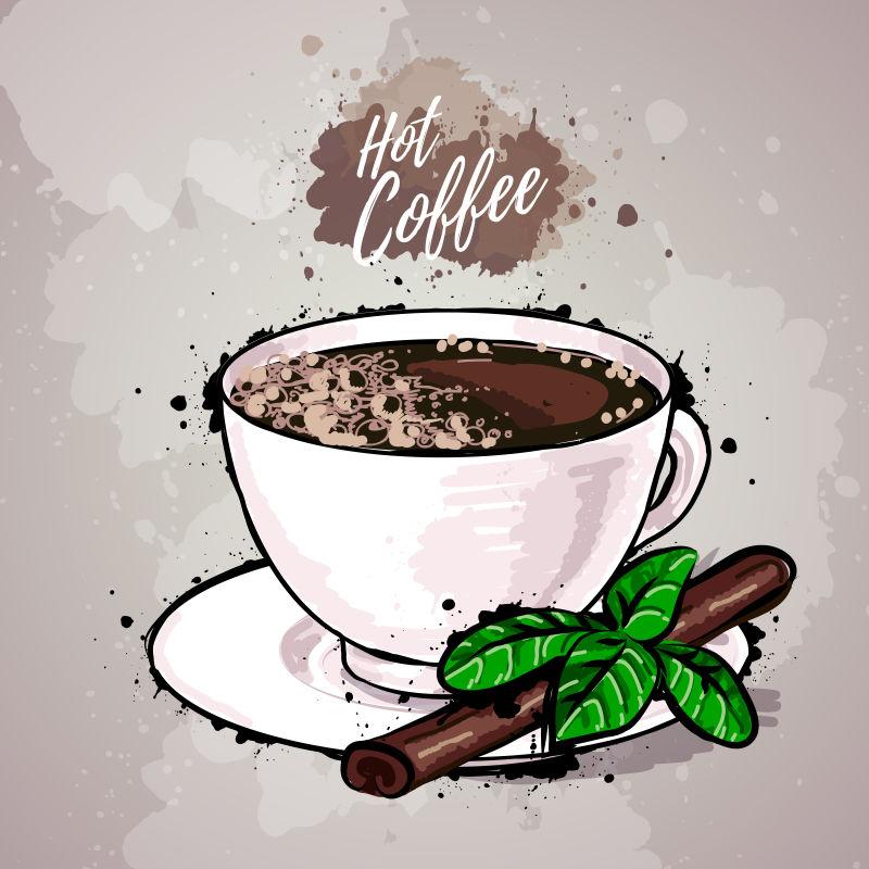 抽象矢量手绘咖啡的平面插图