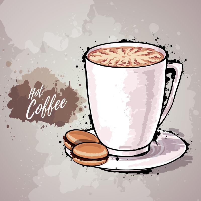 创意平面风格的矢量咖啡设计插图