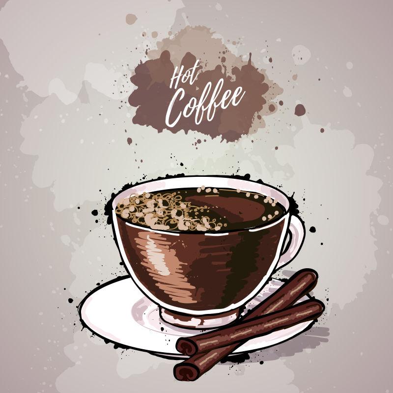 创意矢量现代热咖啡平面插图