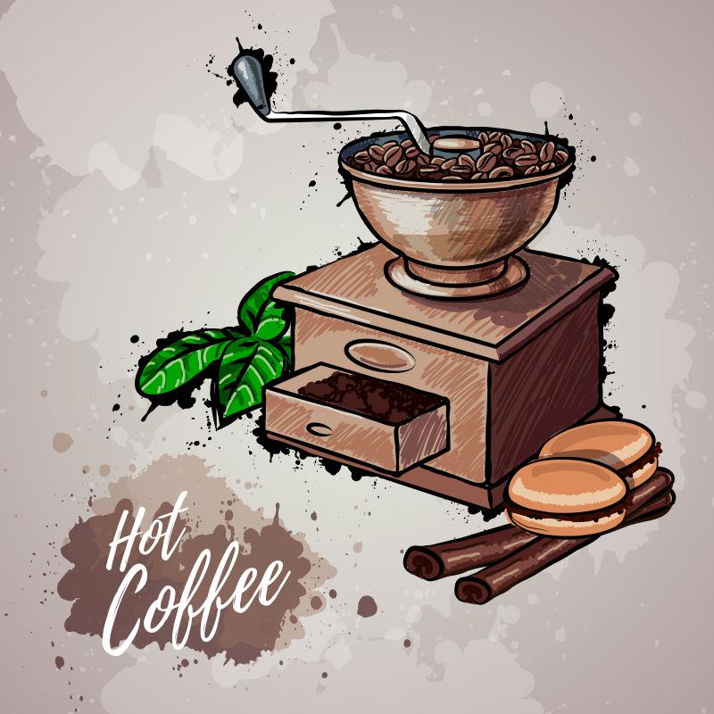 矢量复古风格的手绘咖啡插图