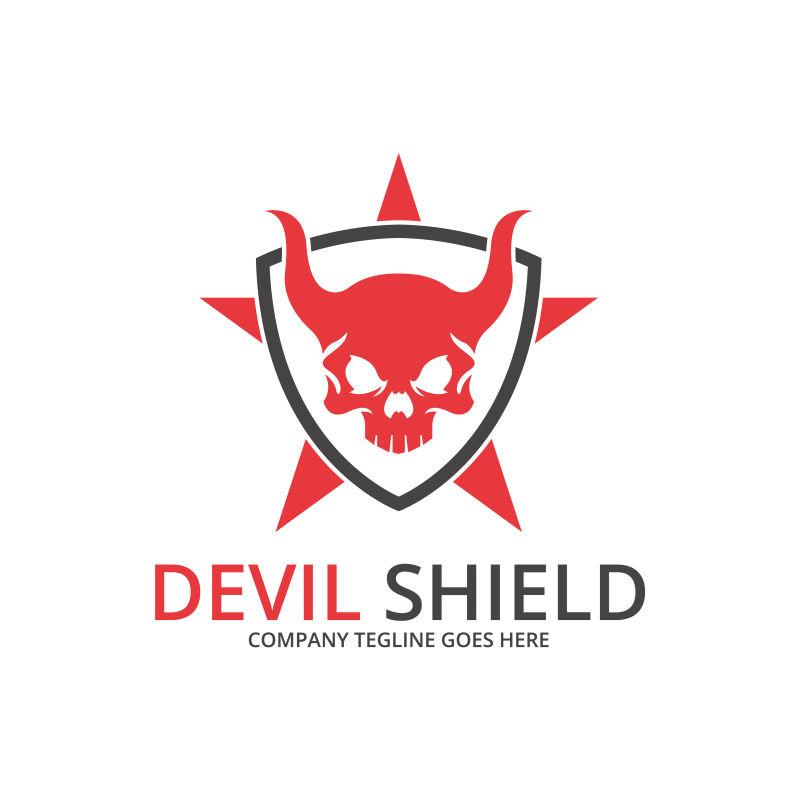 矢量的红色骷髅标志设计