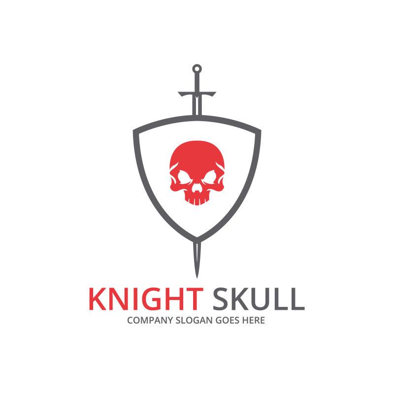 红色骷髅图案盾牌标志矢量设计