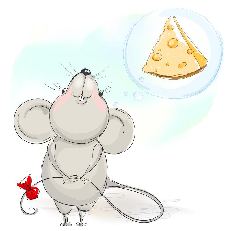 矢量想吃奶酪的老鼠插图