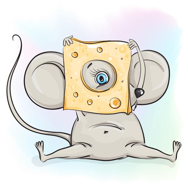 抽象矢量拿奶酪的老鼠插图