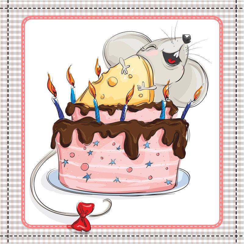 矢量拥抱蛋糕的老鼠插图
