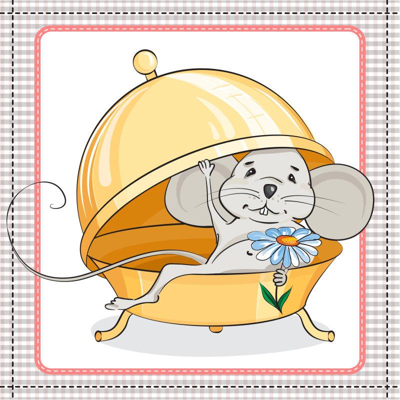 创意矢量卡通准备精心的老鼠插图