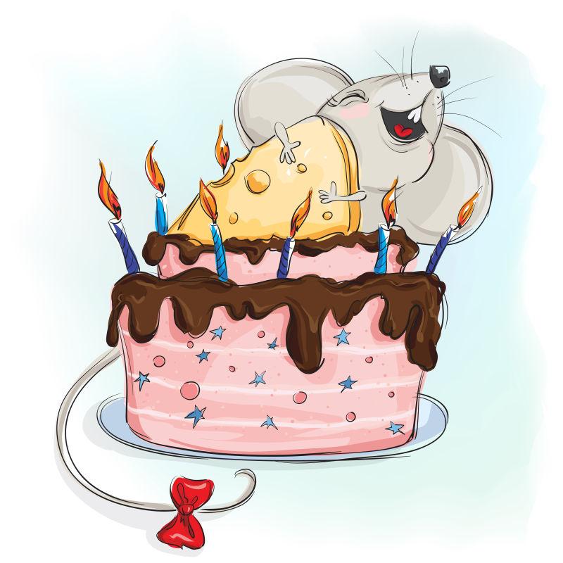 抽象矢量偷奶酪的老鼠卡通插图